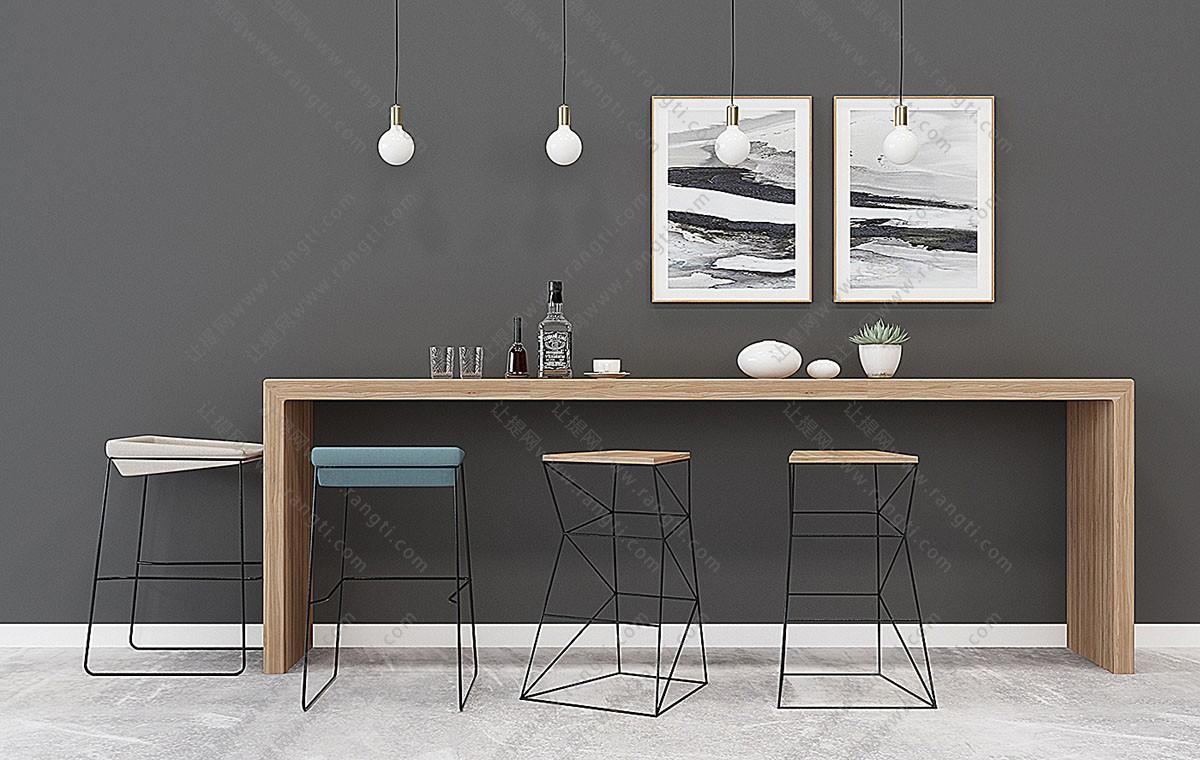 现代极简吧椅、酒瓶、酒杯组合3D模型