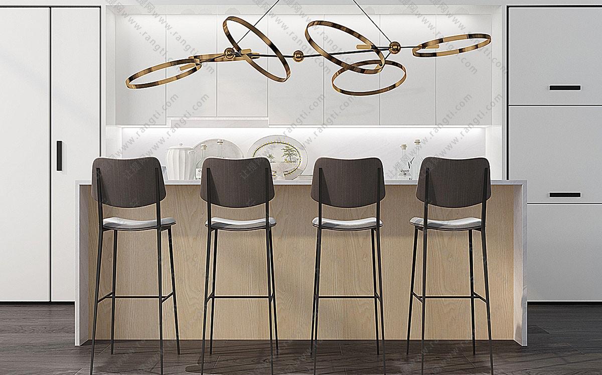 现代吧椅、金属吊灯3D模型