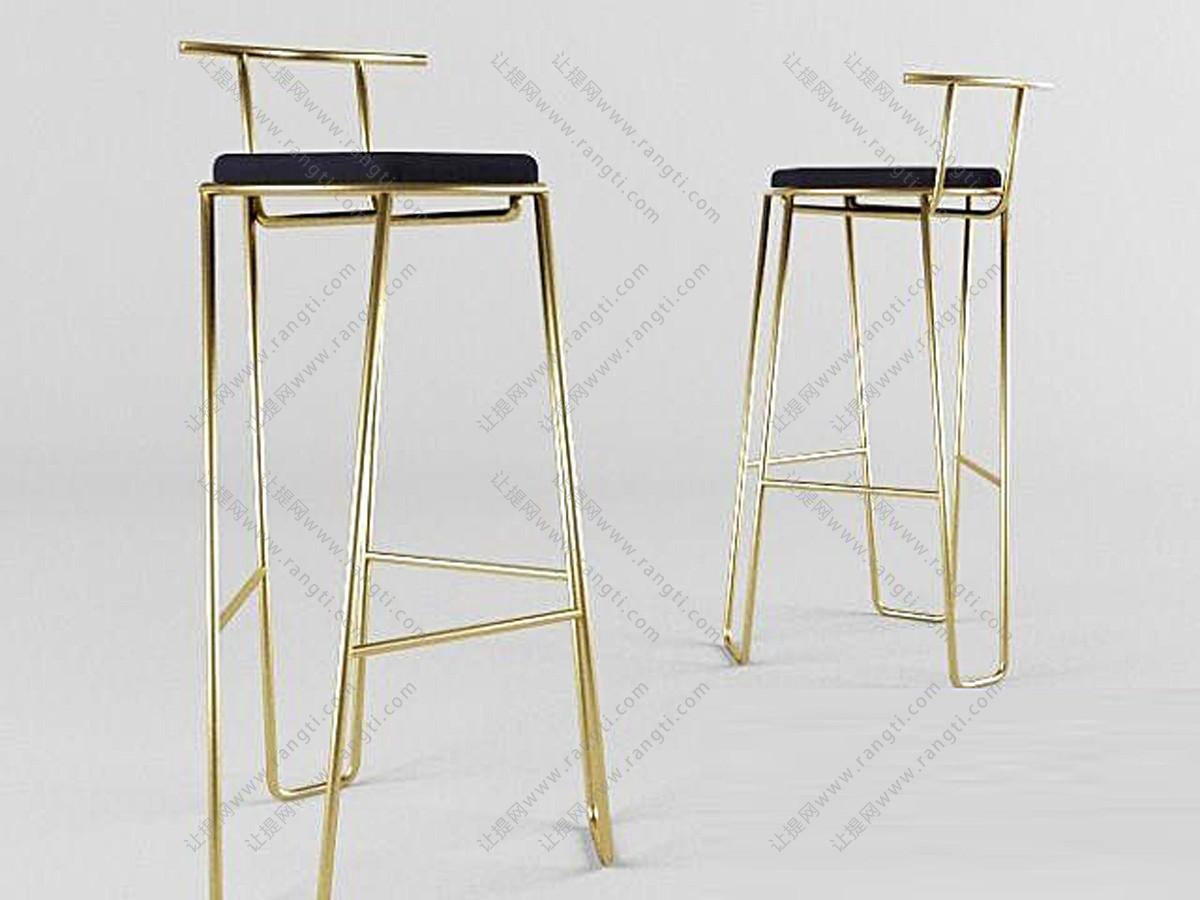 现代轻奢金属吧台椅3D模型
