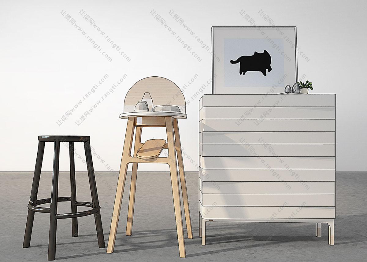 现代吧椅、吧凳3D模型