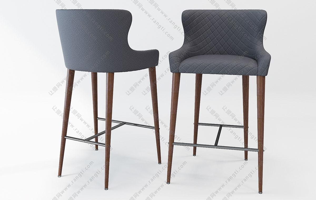 北欧吧台椅3D模型