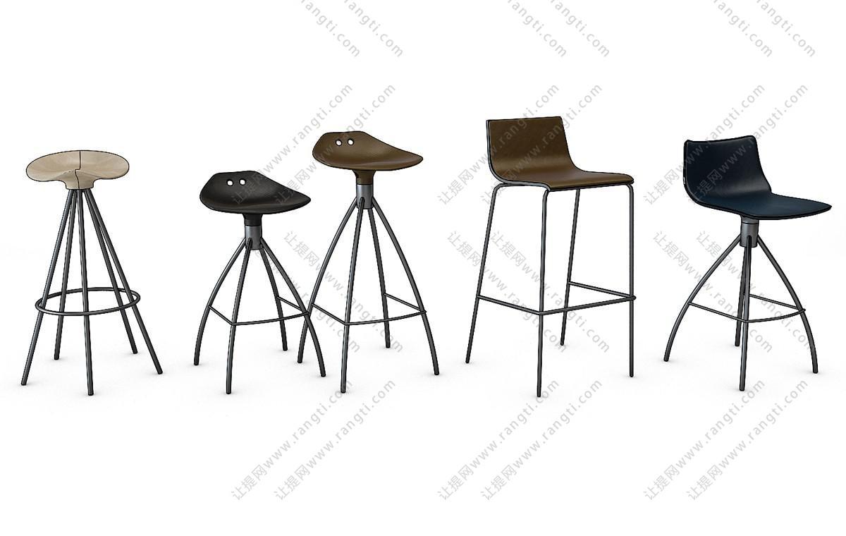 工业风个性吧台椅、吧凳组合3D模型