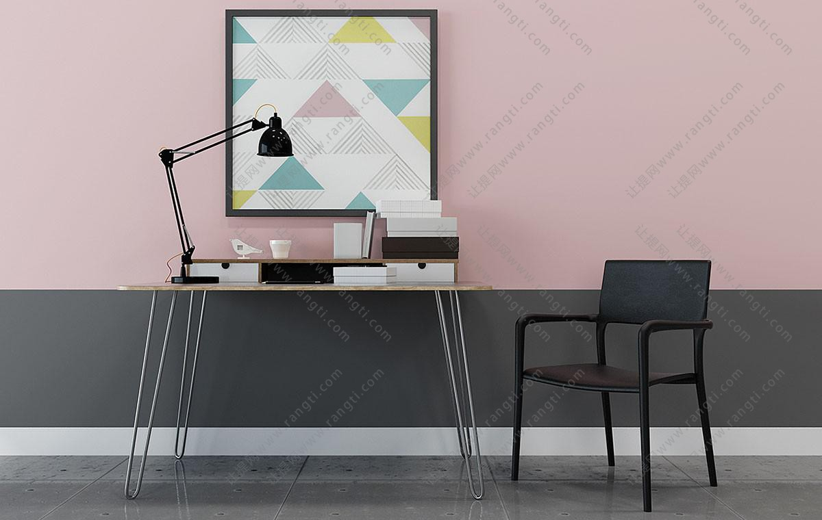 北欧简约书桌椅组合3D模型