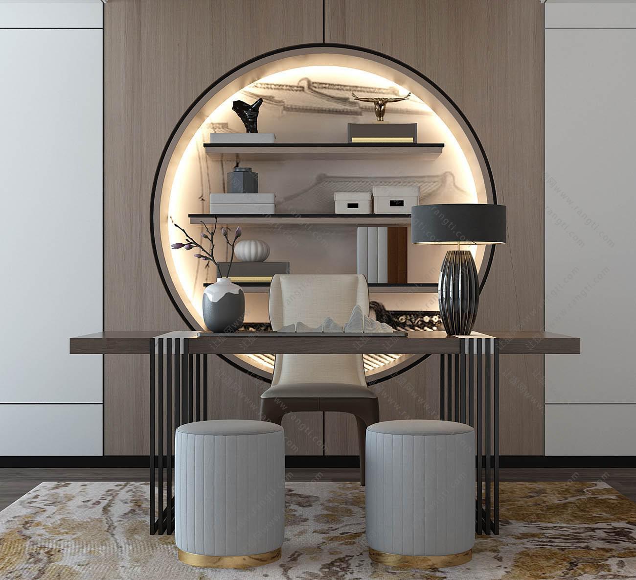 新中式书房书桌椅、书柜组合3D模型