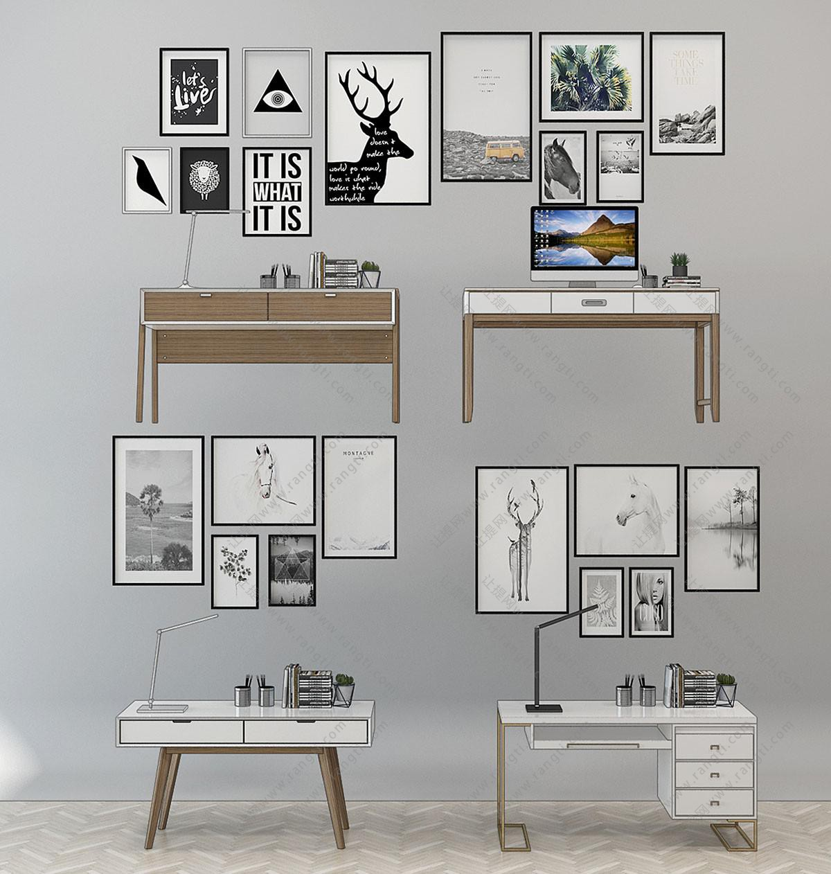 北欧书桌、装饰画组合3D模型