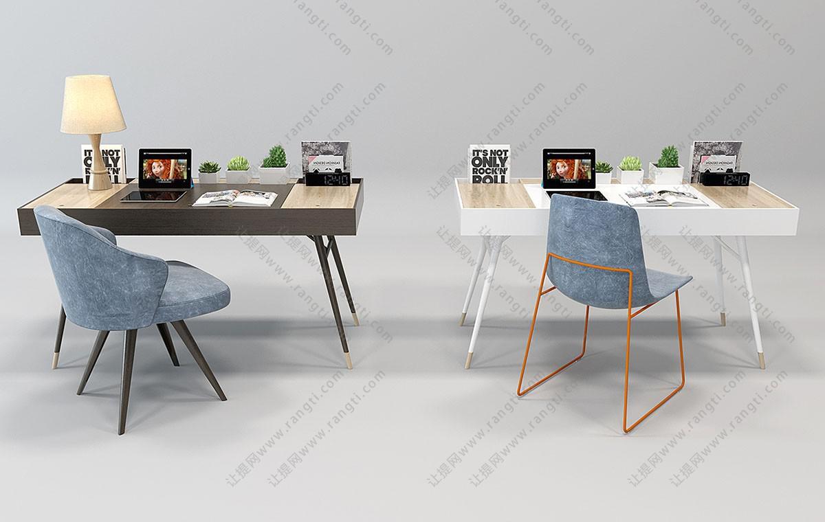 北欧书桌椅组合3D模型