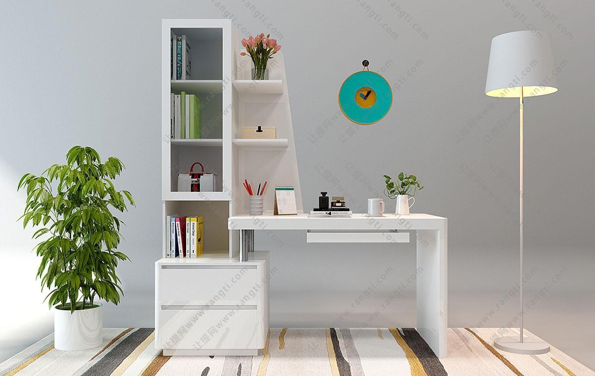 现代书桌椅、落地灯组合3D模型