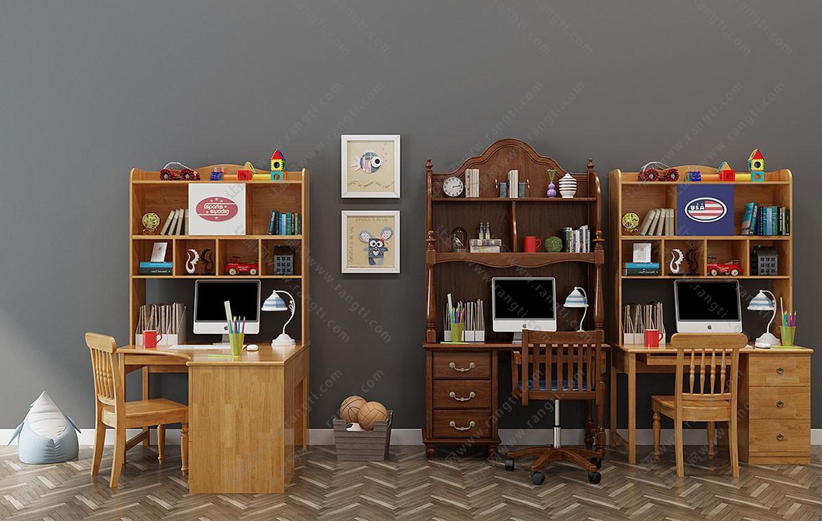 欧式实木书桌椅、电脑桌组合3D模型