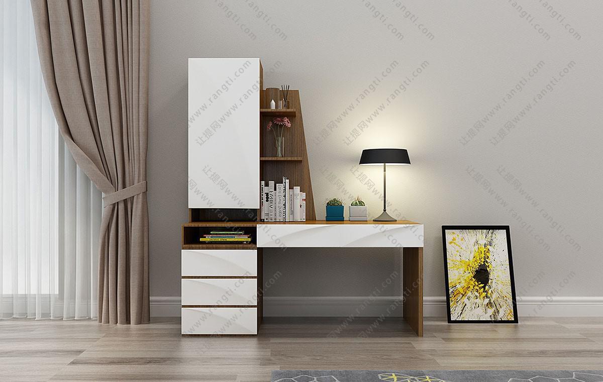 现代书桌、装饰画组合3D模型