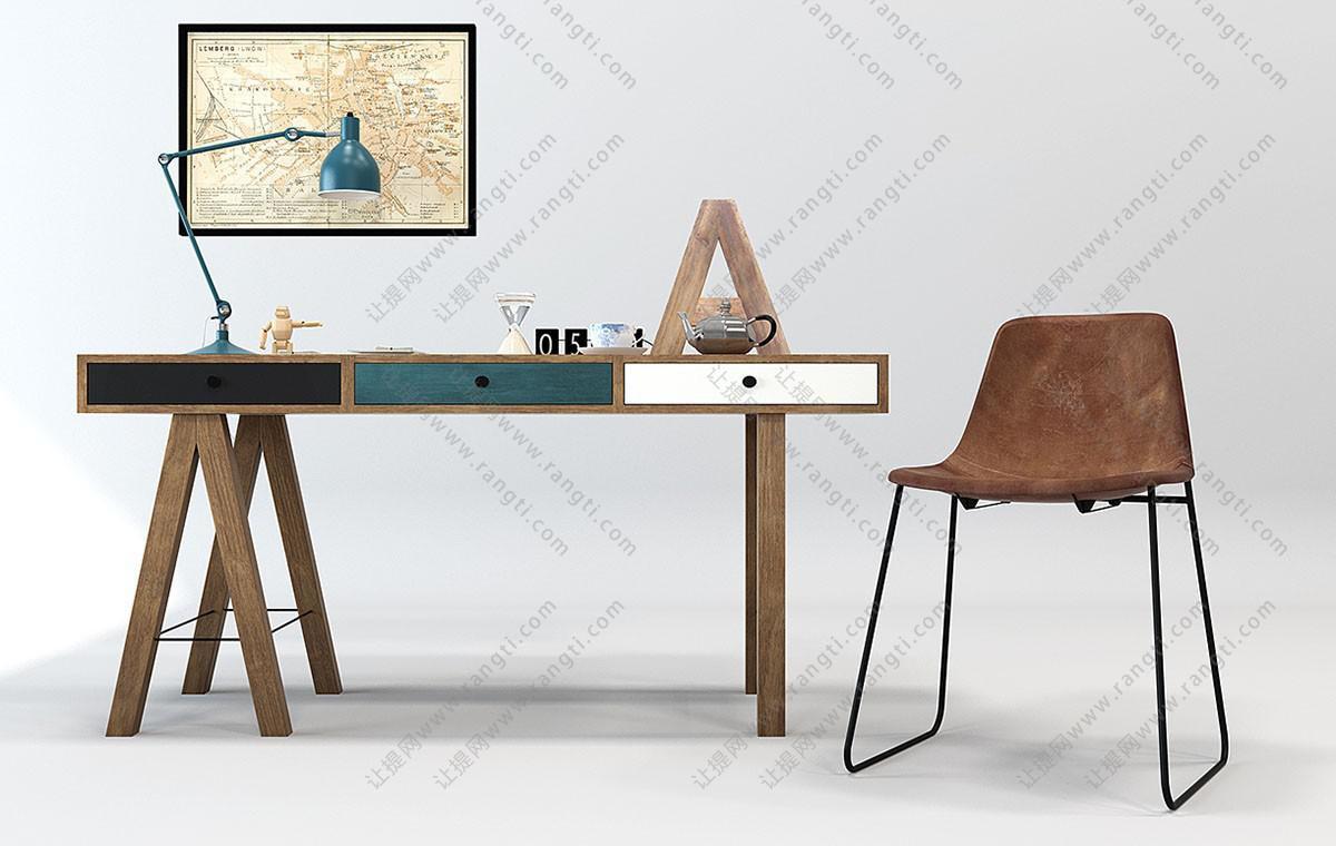 现代个性书桌椅组合3D模型