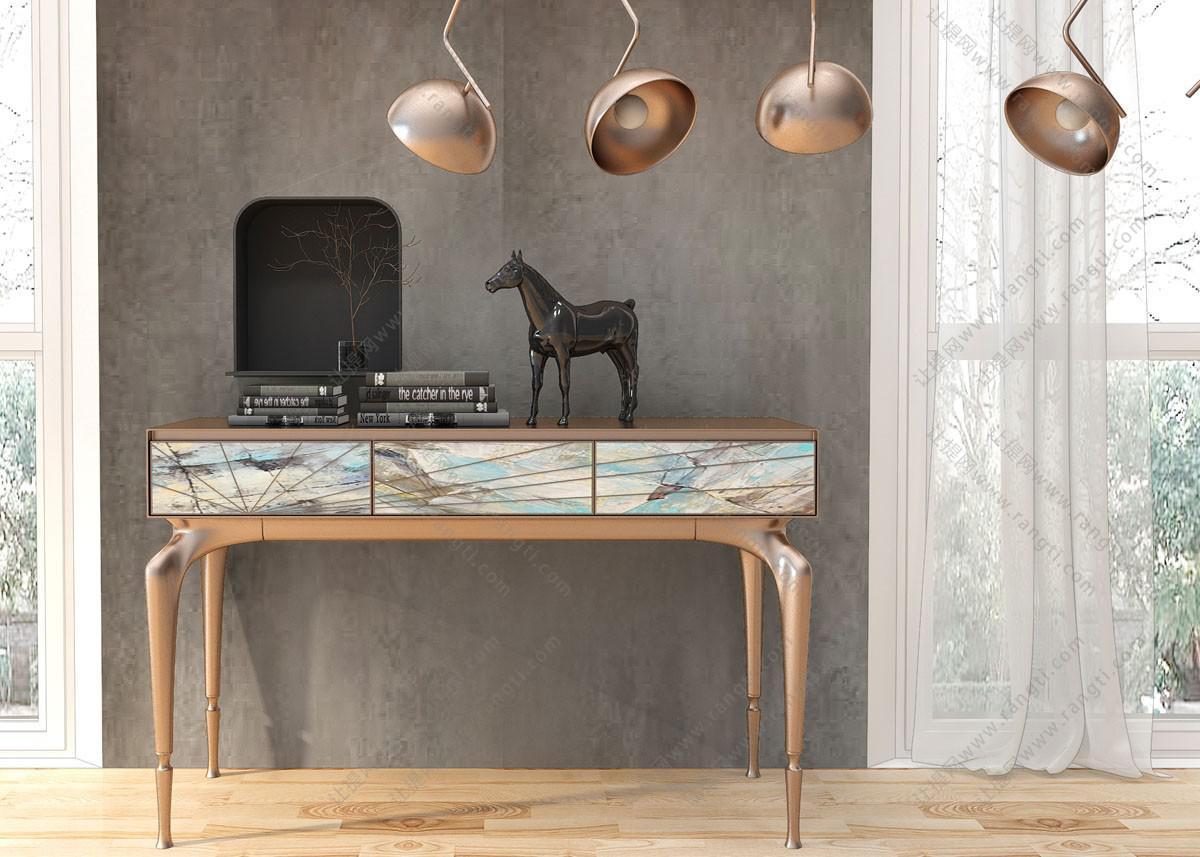 简欧轻奢边柜、写字台、吊灯组合3D模型