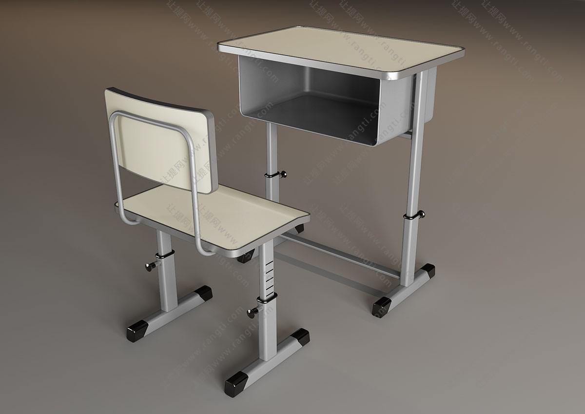 现代学生学习桌椅组合3D模型
