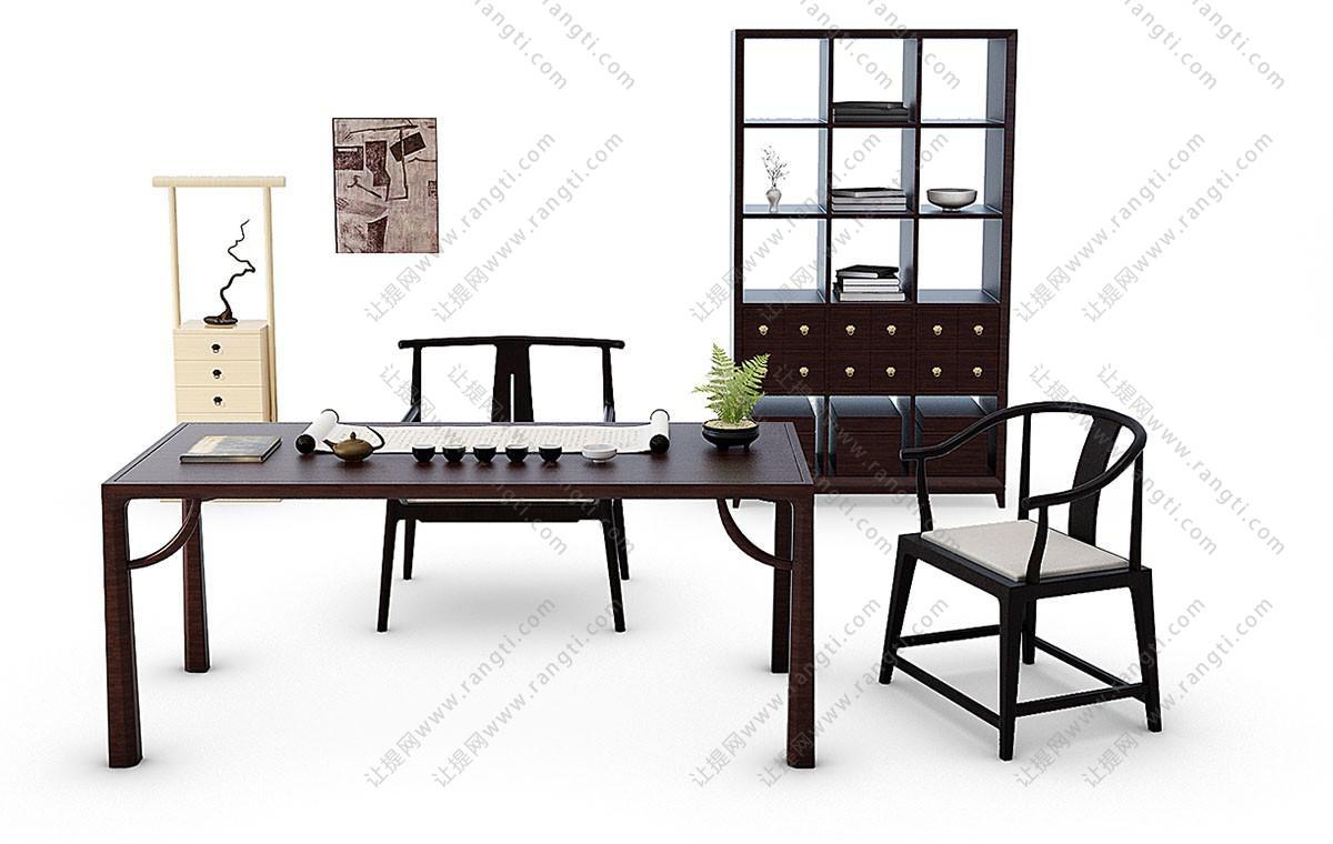 新中式书桌、茶台、圈椅组合3D模型