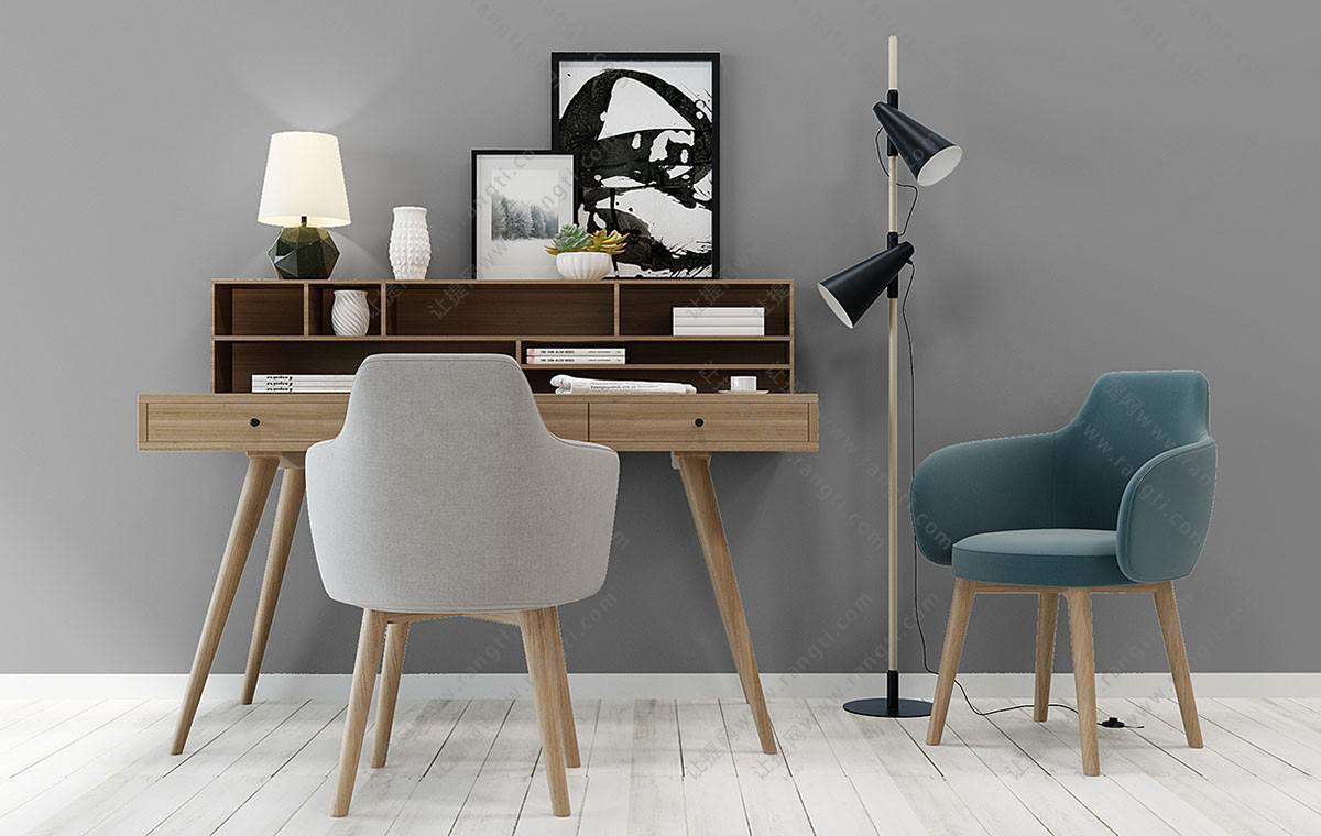 北欧书桌椅、休闲椅、落地灯组合3D模型