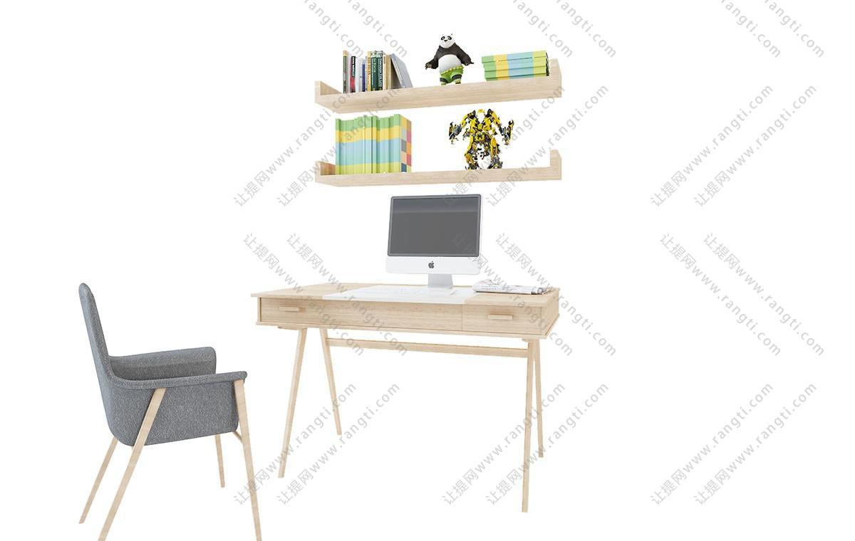 北欧写字台、书桌椅组合3D模型