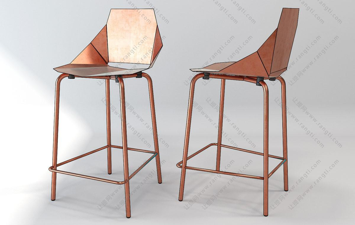 后现代个性金属吧台椅3D模型