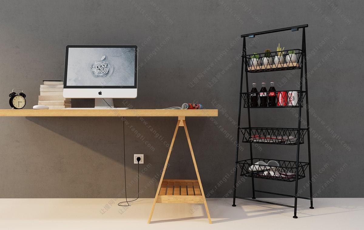 现代实木电脑桌、装饰架组合3D模型