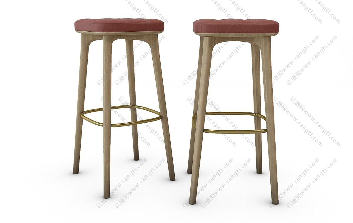 现代轻奢吧凳3D模型