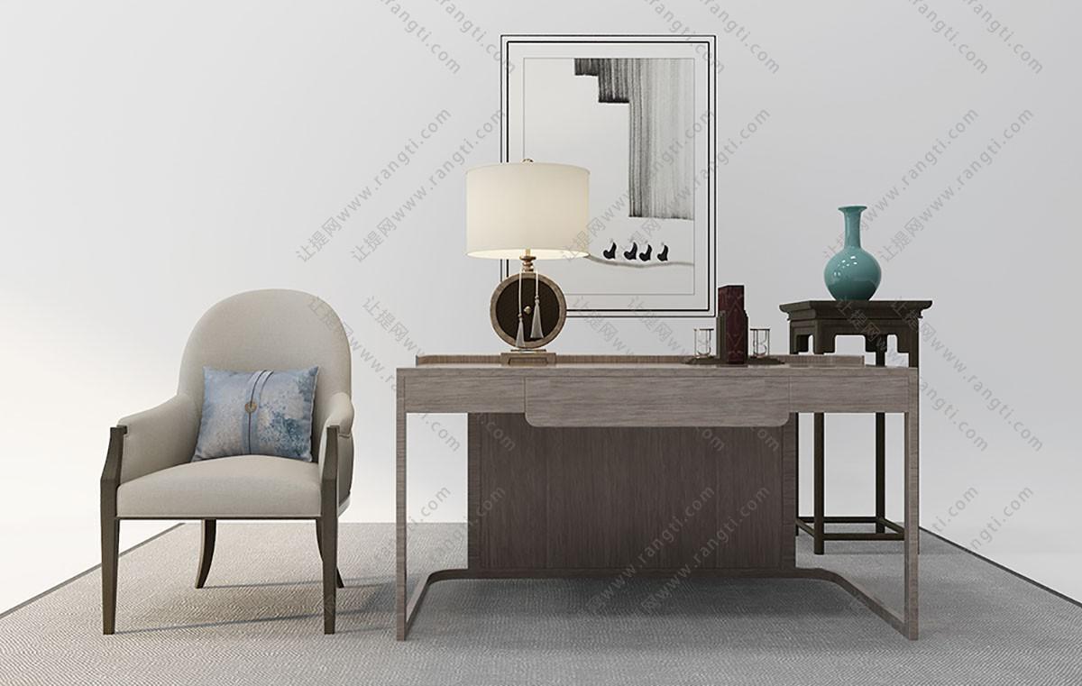 新中式书桌椅、花架组合3D模型