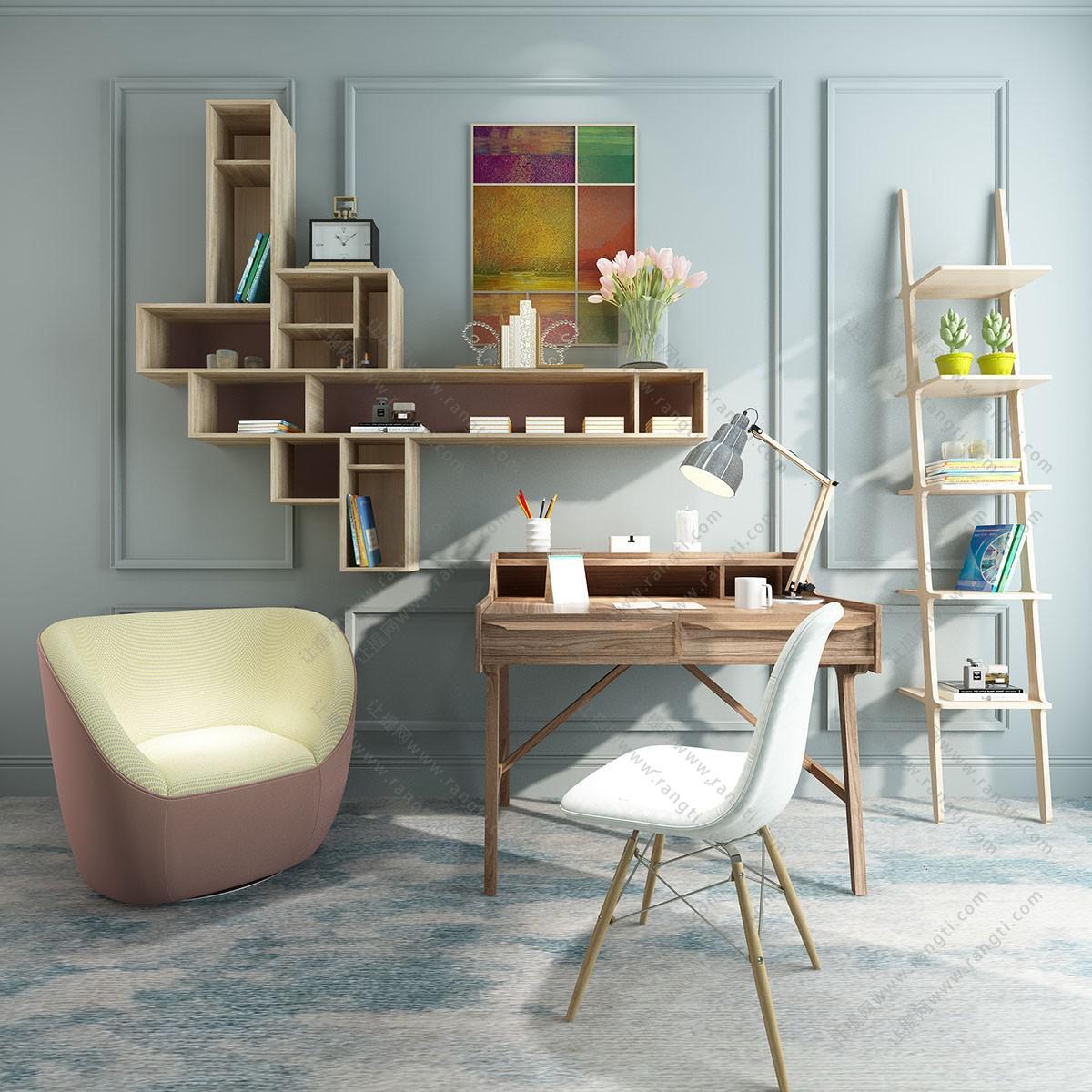 北欧实木书桌椅、书架组合3D模型