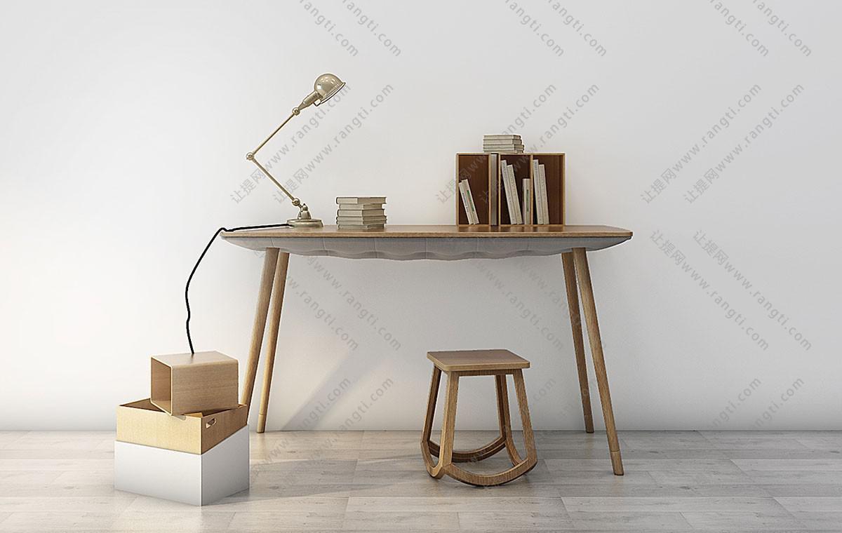 北欧实木书桌椅、写字台组合3D模型