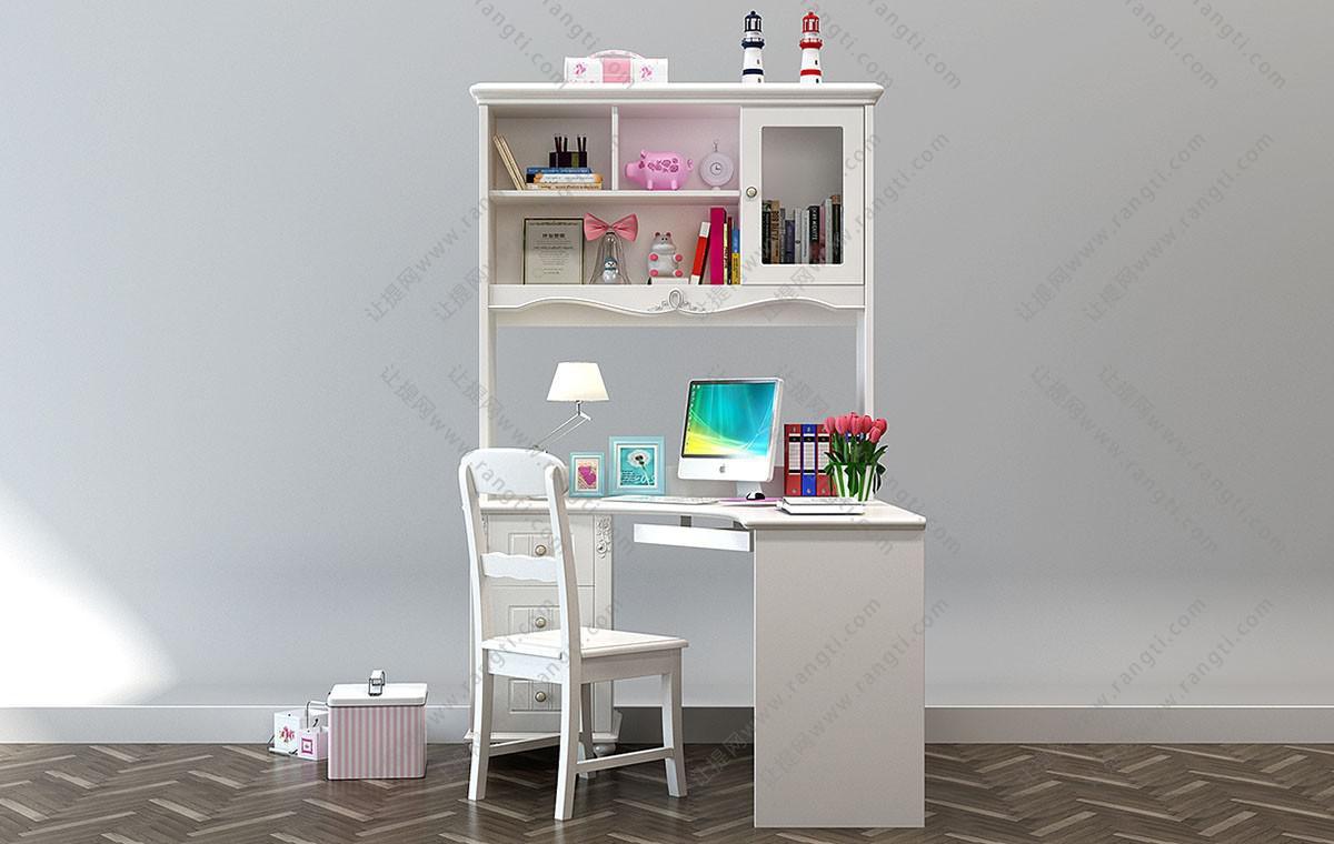 欧式学生书桌椅、电脑桌组合3D模型