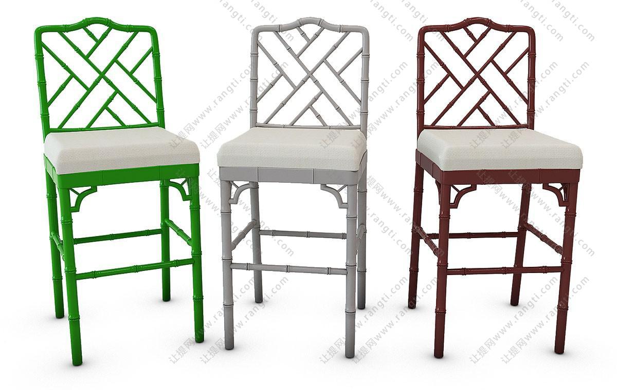 东南亚竹编吧台椅3D模型