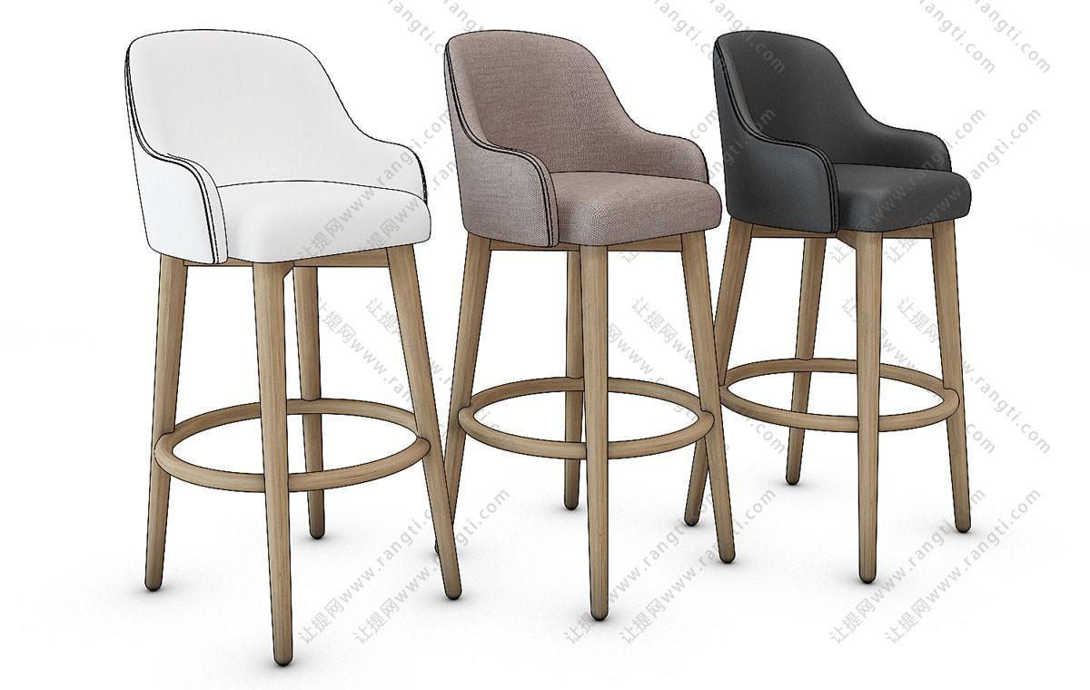 现代吧台椅3D模型