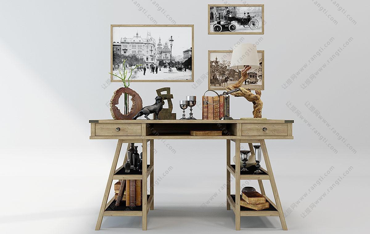 北欧实木可收纳书桌椅组合3D模型