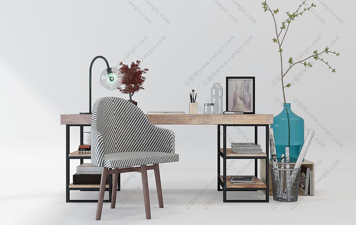 工业风实木书桌、休闲椅组合3D模型