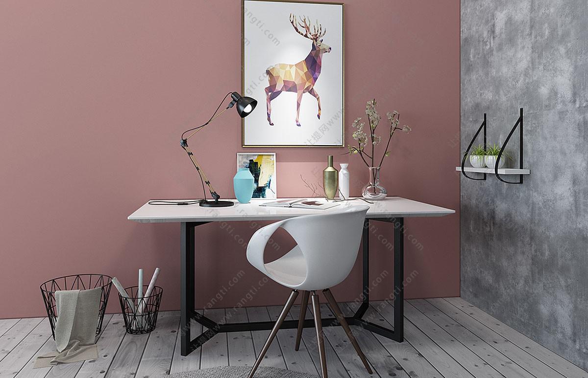 北欧方形书桌椅、写字台组合3D模型