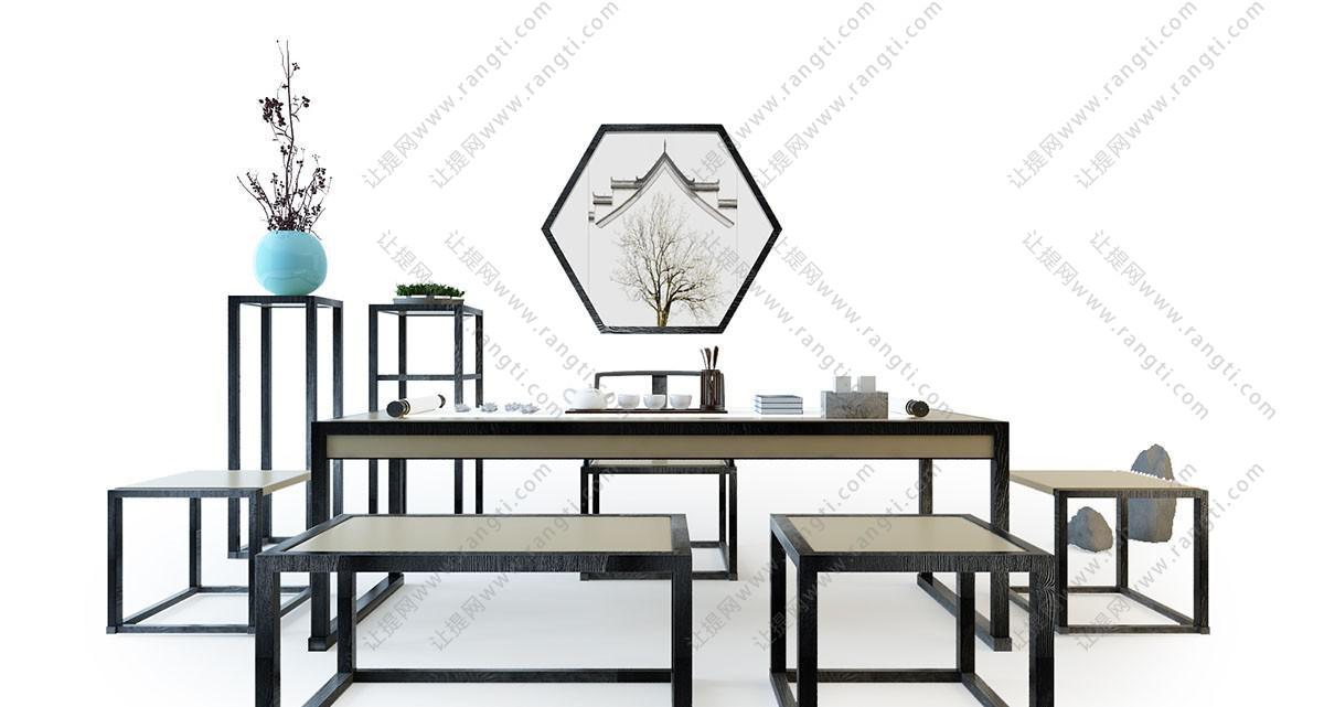 新中式书桌、茶台、坐凳组合3D模型