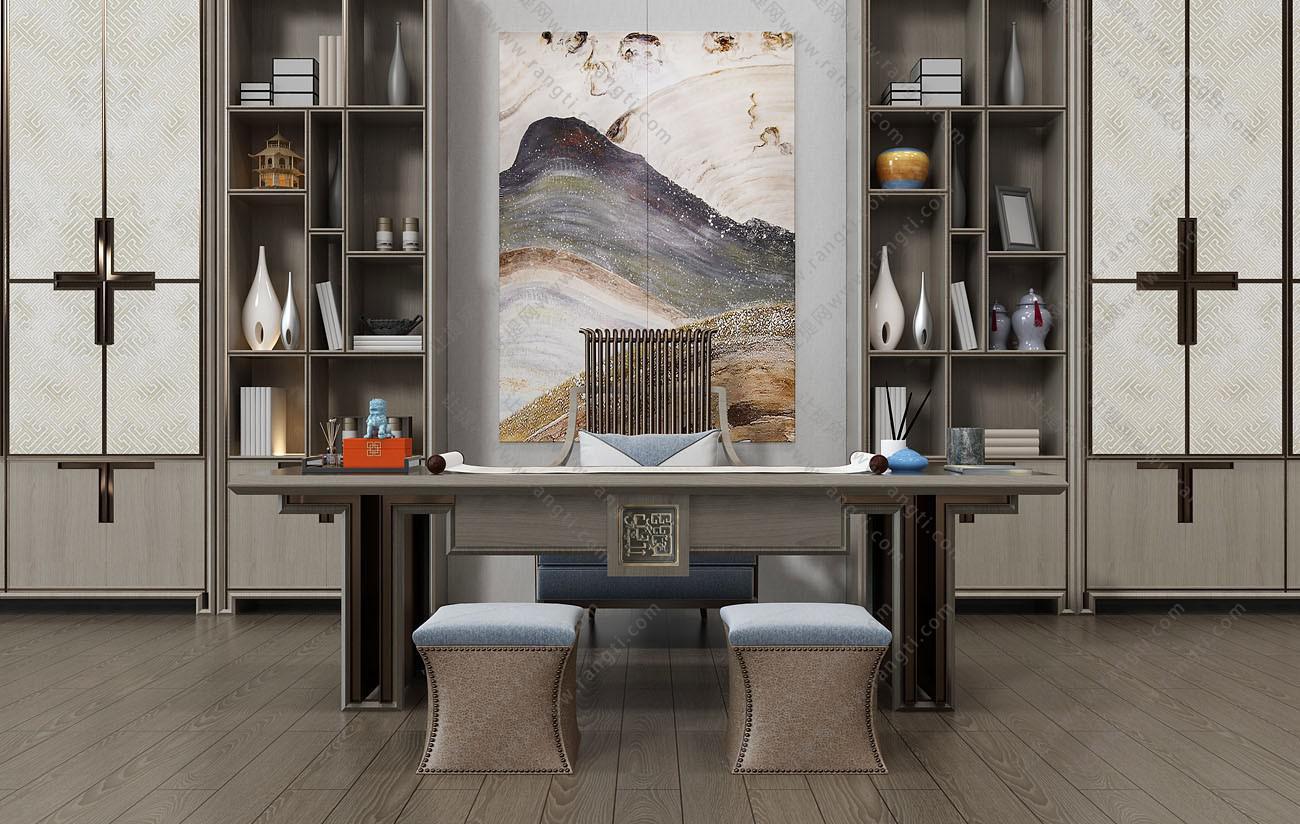 新中式书桌椅、坐墩、书柜组合3D模型