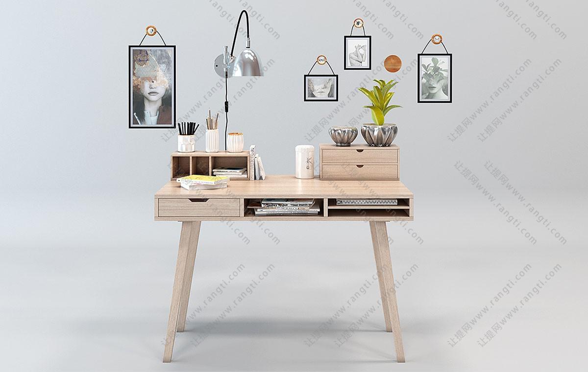 北欧实木书桌、文具组合3D模型