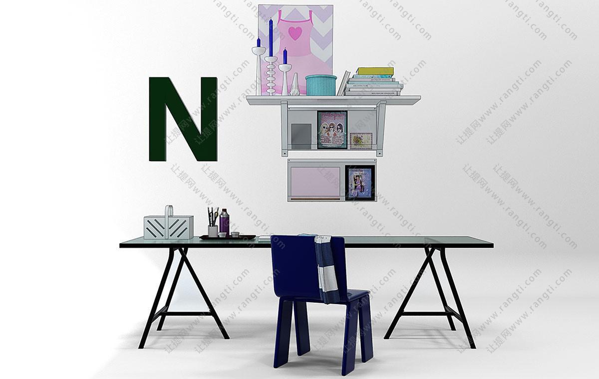现代儿童书桌椅、写字台组合3D模型