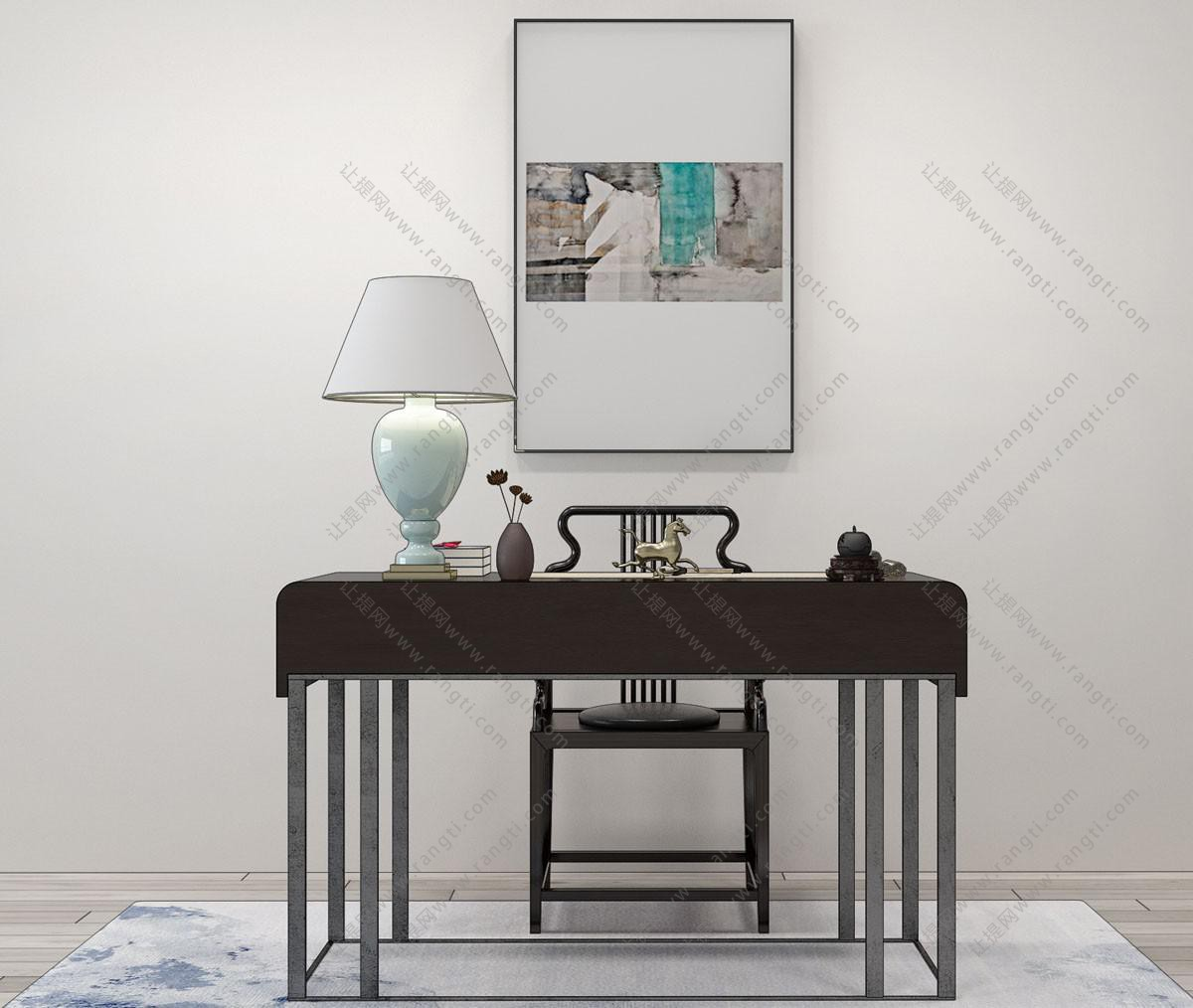 新中式书桌椅、台灯组合3D模型
