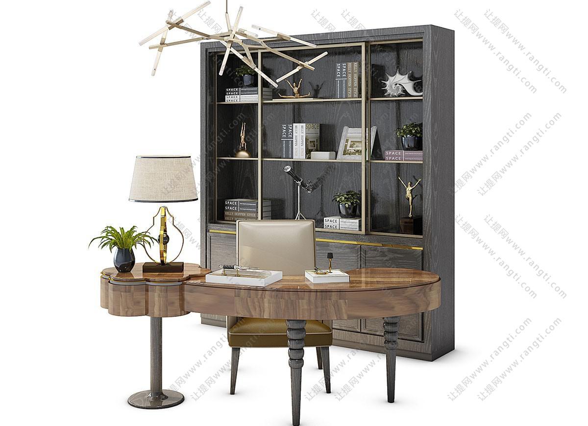 简欧异形实木书桌、书柜组合3D模型