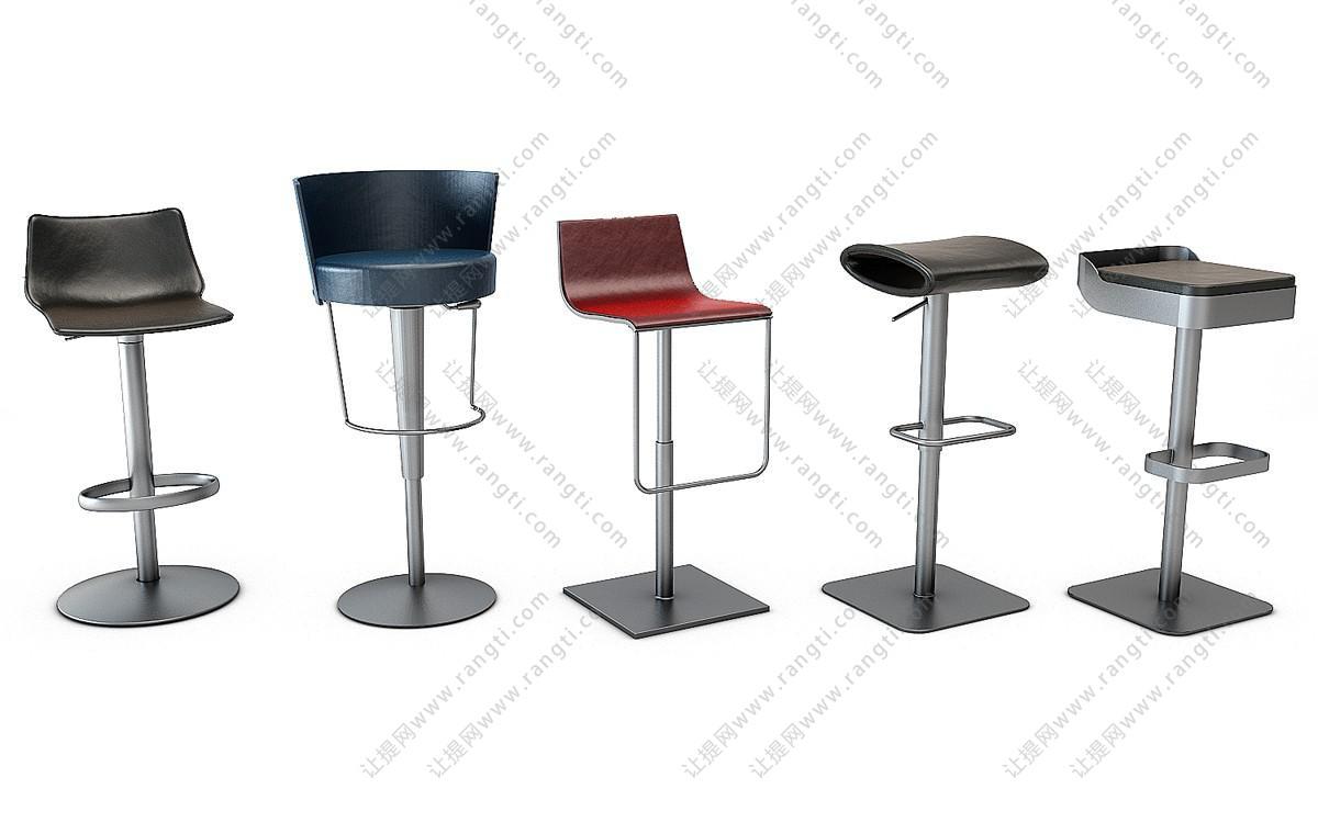后现代金属吧椅、吧凳组合3D模型