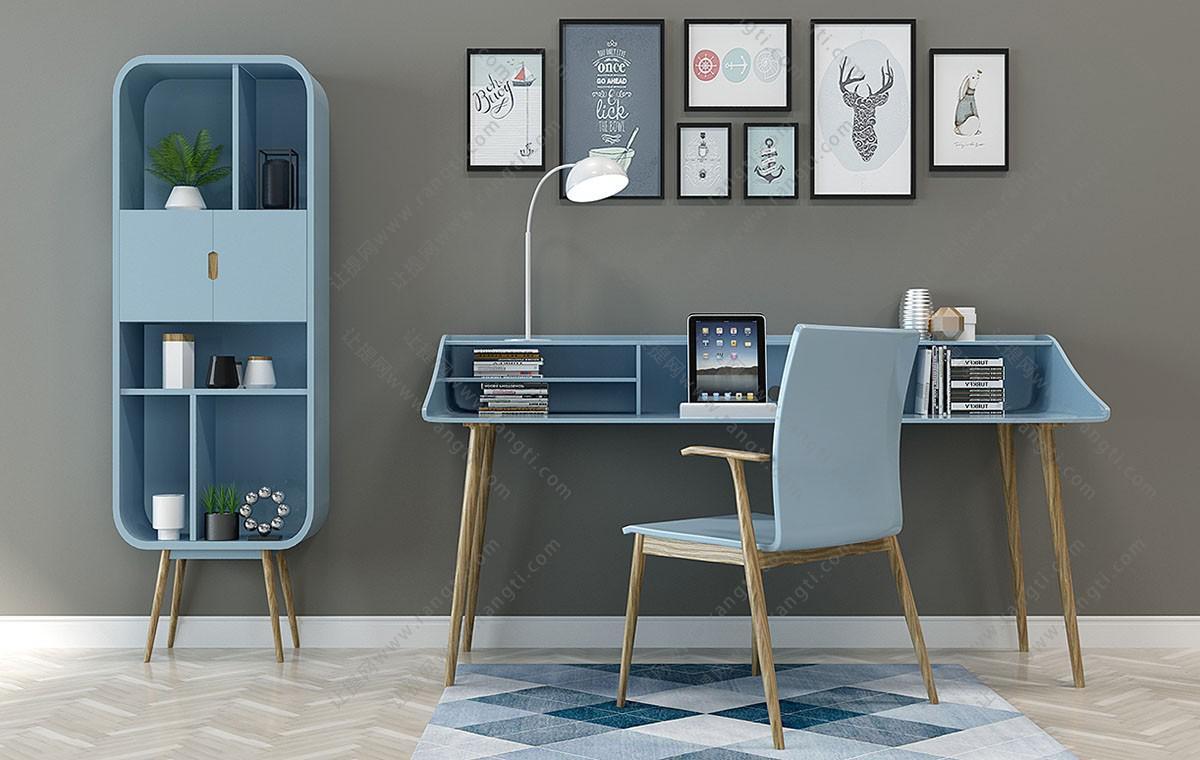 北欧实木书桌椅、装饰收纳柜组合3D模型