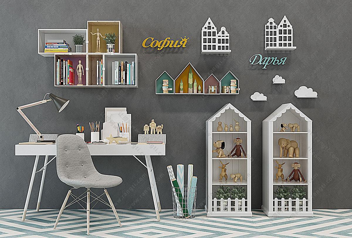 北欧实木儿童书桌椅、玩具收纳柜组合3D模型
