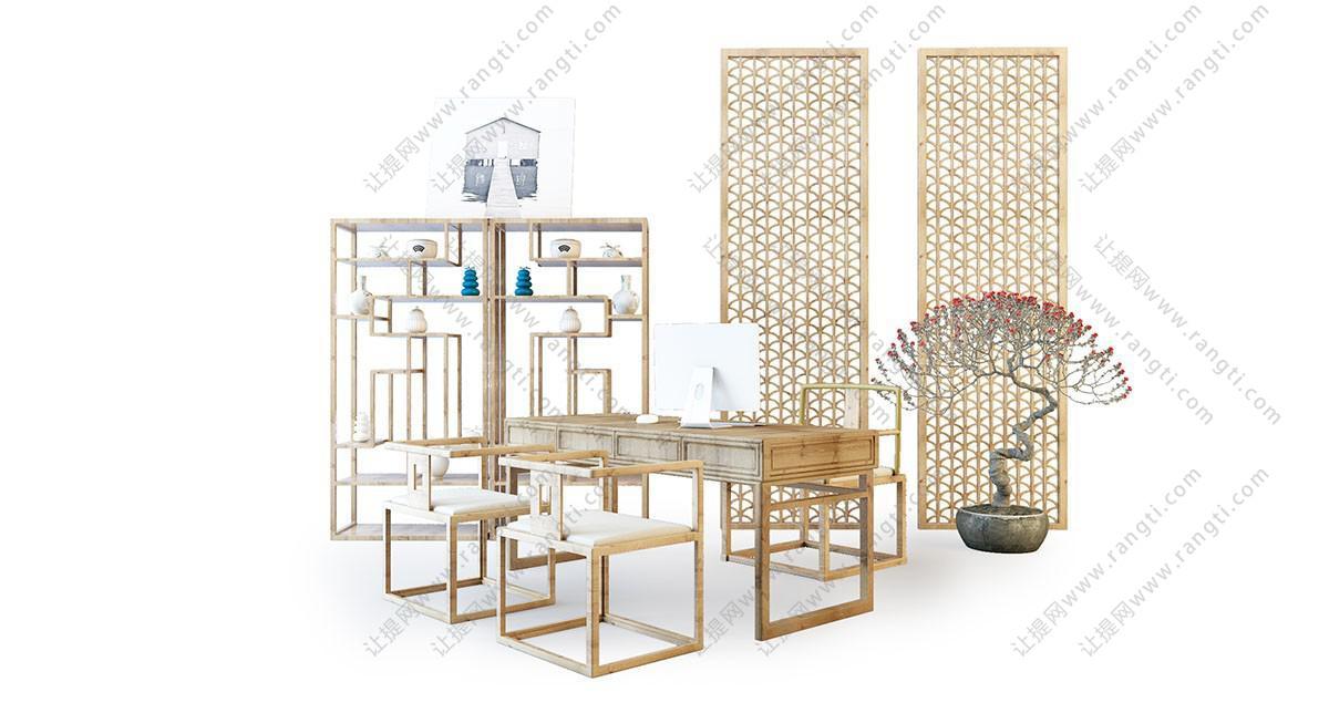 新中式书桌椅、博古架组合3D模型