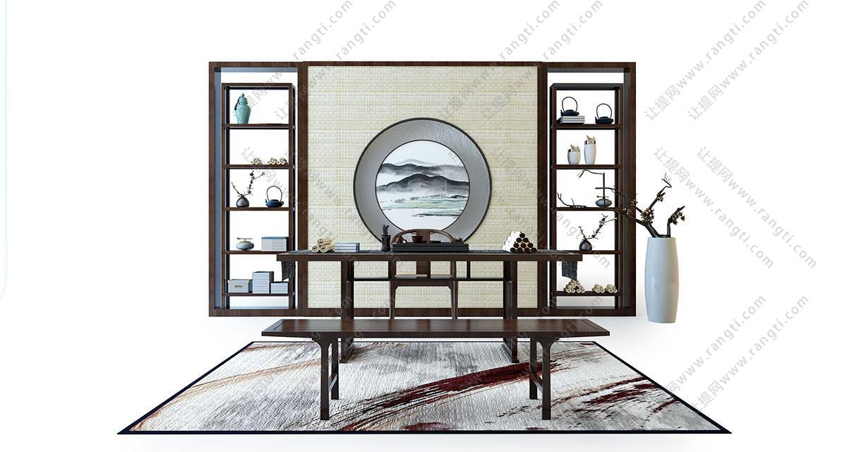 新中式书桌、坐凳组合3D模型