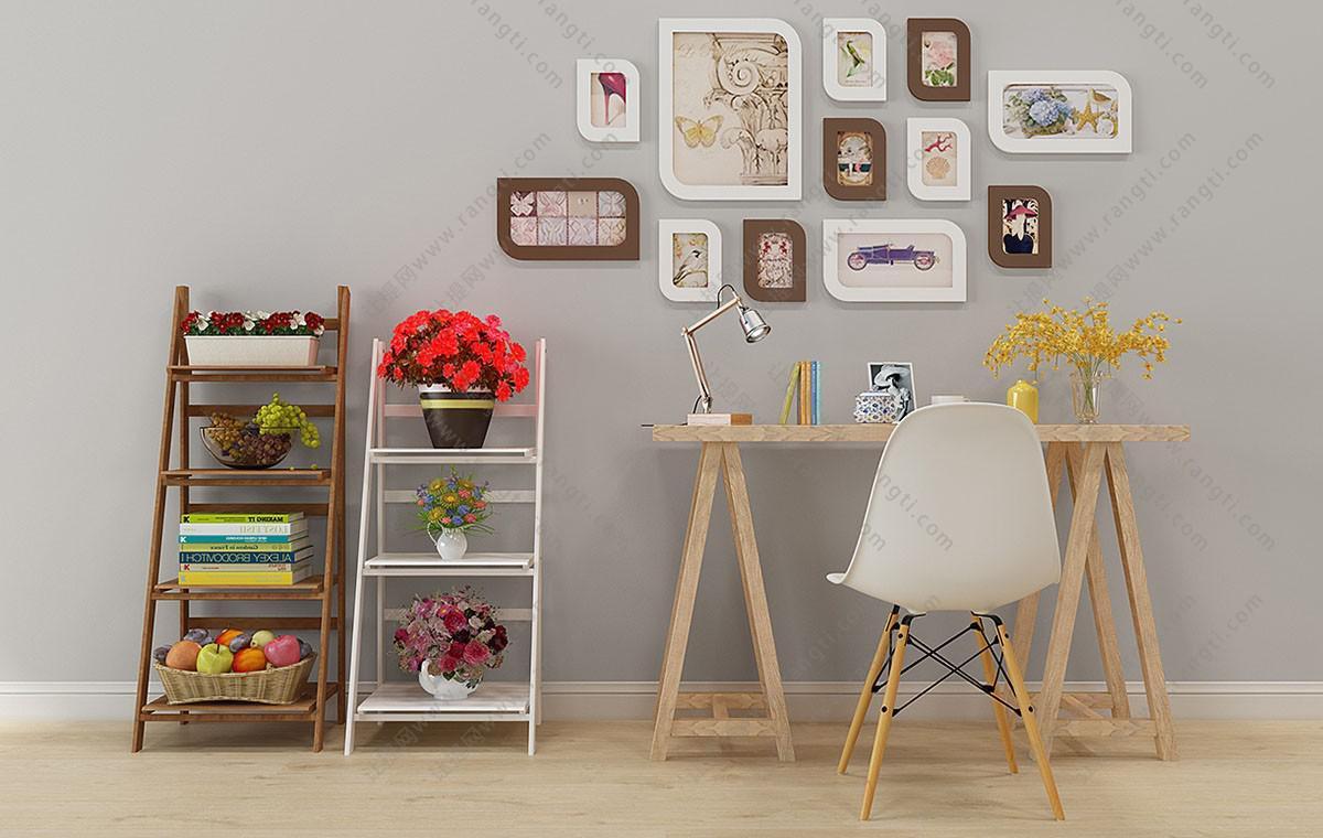 北欧实木书桌椅、写字台、装饰架组合3D模型