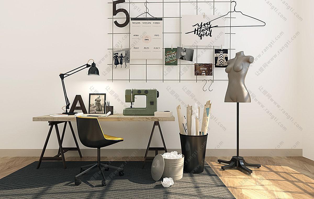 工业风简约书桌椅、工作台组合3D模型
