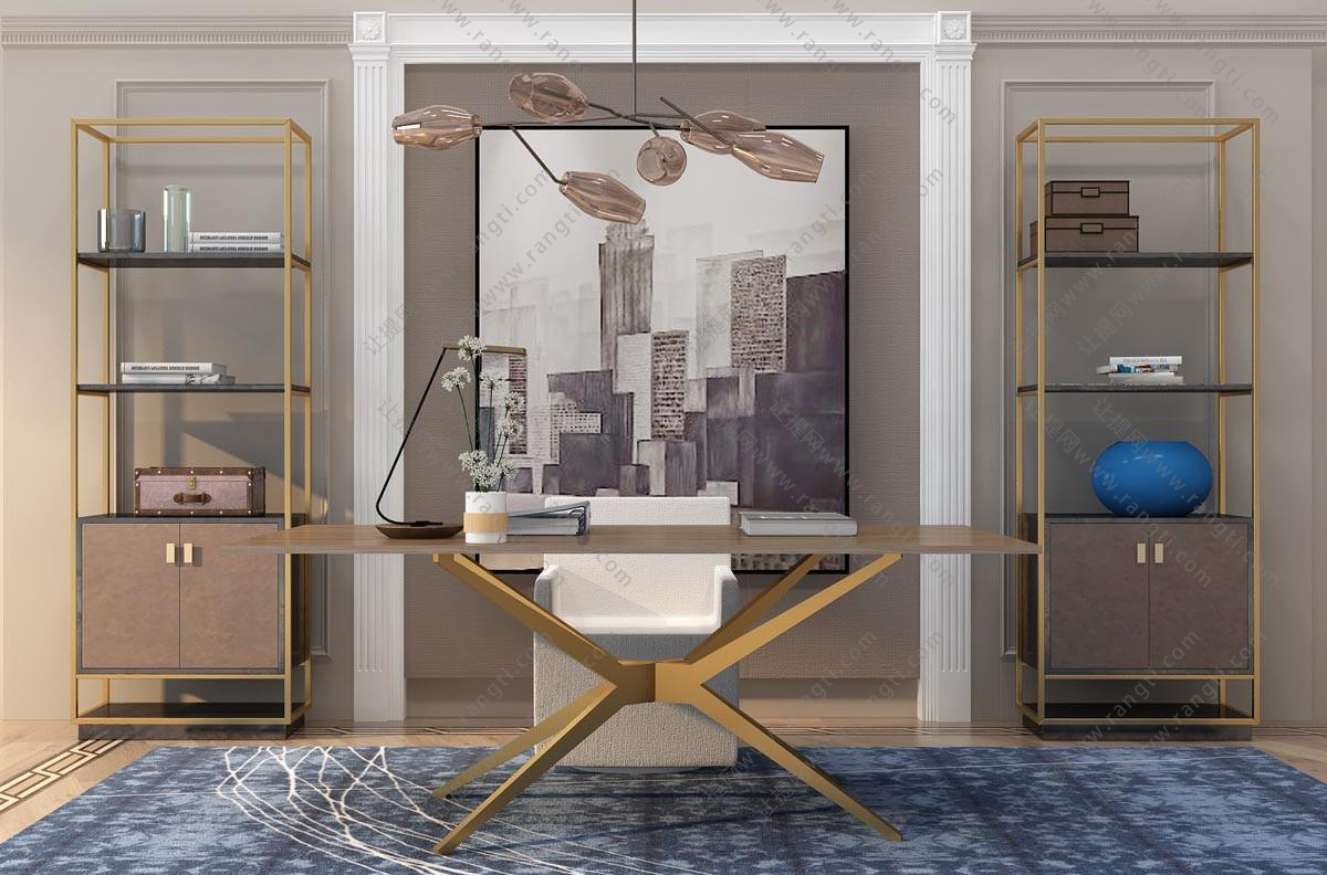 新中式书桌椅、金属书架组合3D模型