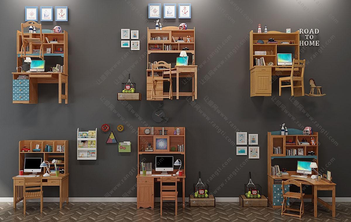 现代学生实木书桌椅组合3D模型
