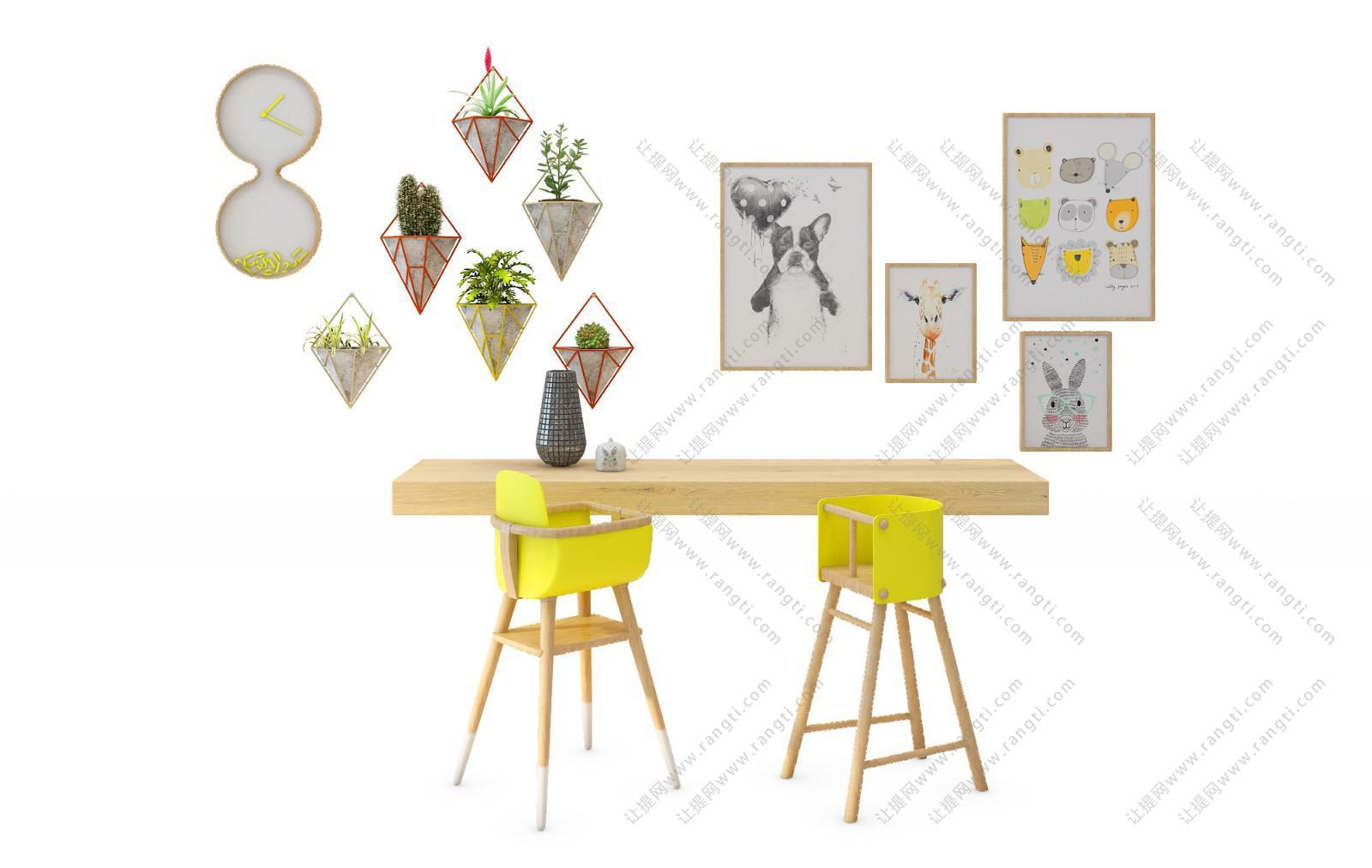 现代实木吧台、儿童餐桌椅组合3D模型