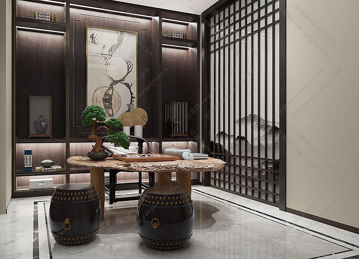 新中式原木书桌圈椅、鼓凳组合3D模型