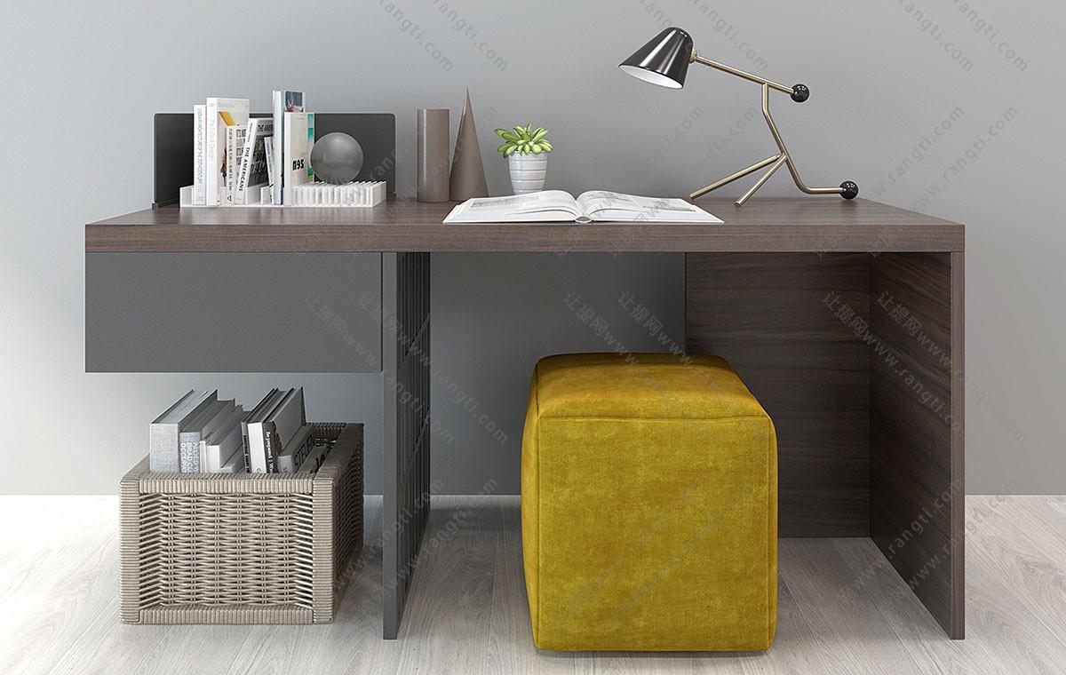 现代书桌、坐墩、写字台组合3D模型