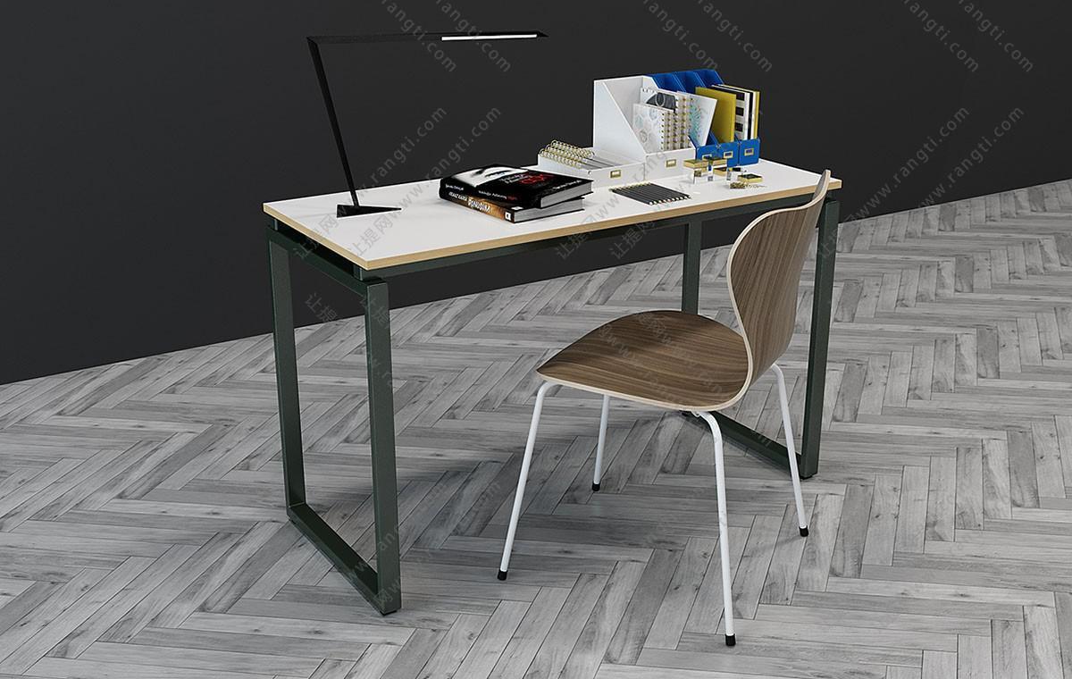 现代简约书桌椅组合3D模型